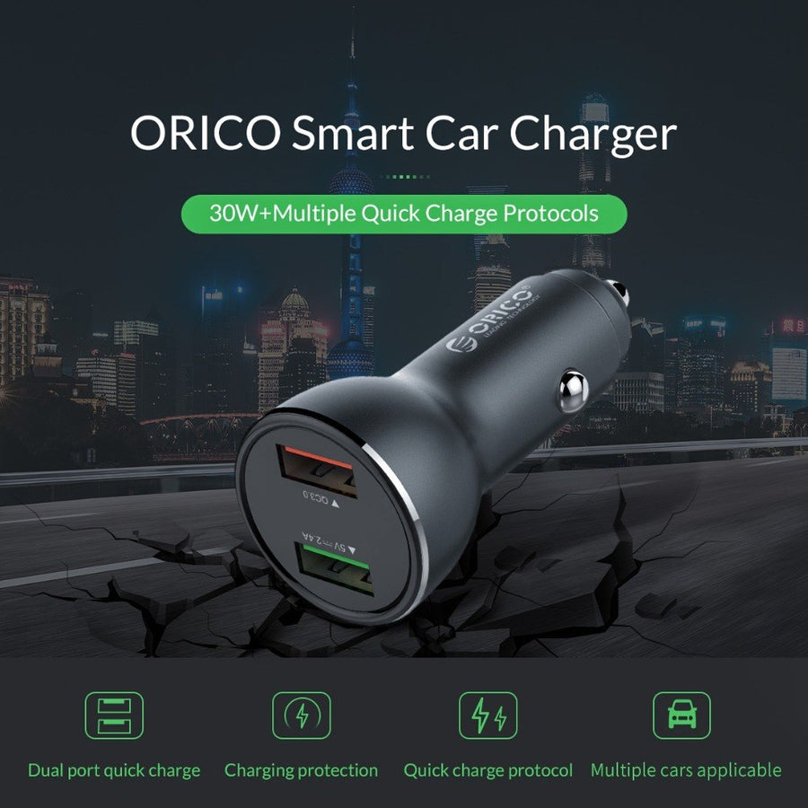 ORICO UPF-Q2 Car Charger Quick Charge 3.0 2.0 Mobile Phone Charger Two USB Port Fast Car Charger Adapter for Mobile Phone Tablet