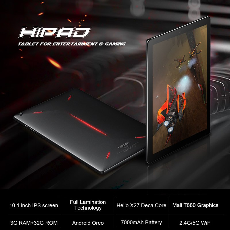 CHUWI HiPad Tablet PC 10.1 inch IPS OGS MT6797 X27 Deca Core Android 8.0 3GB RAM 32GB ROM Dual WIFI Dual Cameras 1920x1200