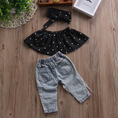 0-3Y Toddler Baby Girls Infant Newborn Cotton Polka Dot Blouse Top Hole Denim Jeans Pants Headband 3Pcs Set Kids Outfit Clothes - upcube