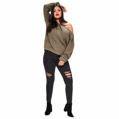 Kissmilk 2018 Big Size New Fashion Women Clothing Casual Solid Sexy Sweater  Cold Shoulder Loose Plus 41880a107074