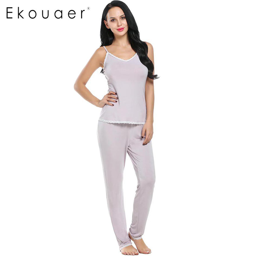 Ekouaer Rayon Pajamas Sets Spring Nightwear Long Pant V-neck Pajama Soft Sleepwear Women Loungewear Sexy Nightgown Two-Piece