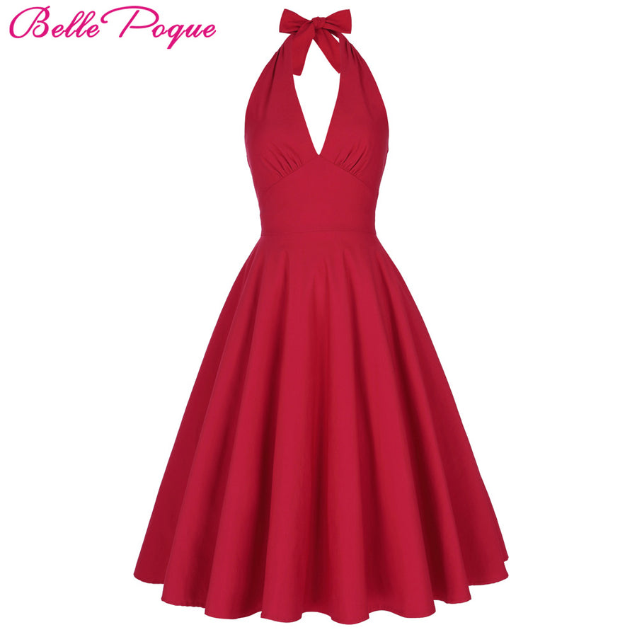 f9e34e94cfda8 Belle Poque Women Summer Sexy Red Retro Vintage Halter V-Neck Party Picnic  Dresses Casual