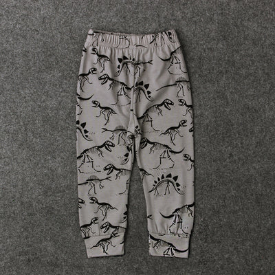 0-24M Baby Boy Cartoon Animal Trousers Kids Newbron Dinosaur Leopard Print Infant Toddler Casual Loose Long Pant - upcube