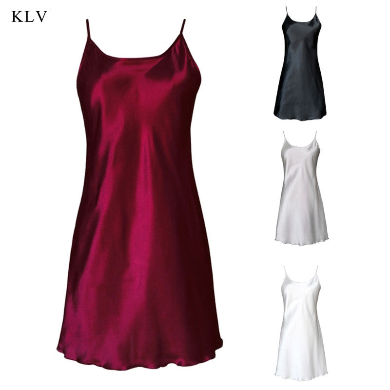 KLV Women's Silk Satin Chemise Nightdress Sexy Lotus Hem Sling Dress Chemise Mini Nightgown Colid Color Casual Nightdress