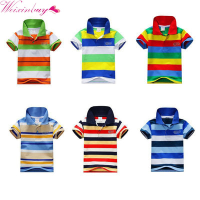 076b193c Kids Tops Striped Polo Shirt Tops Fashion Summer Baby Boys Short Sleeve T  Shirt
