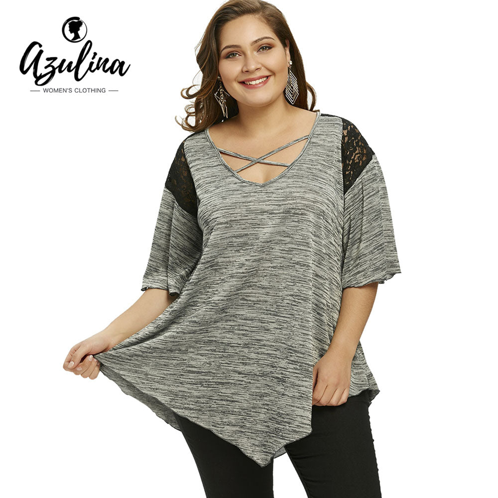 6d903d96ad6 AZULINA Plus Size Flare Sleeve T-Shirt Summer T shirt New Women Loose  Asymmetrical T