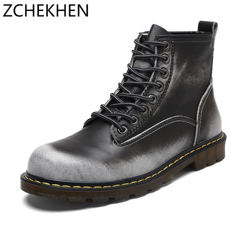 2018 Dr Fashion Retro Combat Ankle Boots autumn British Style Genuine Leather Military Boots Lace Up Men Winter Martin Boots