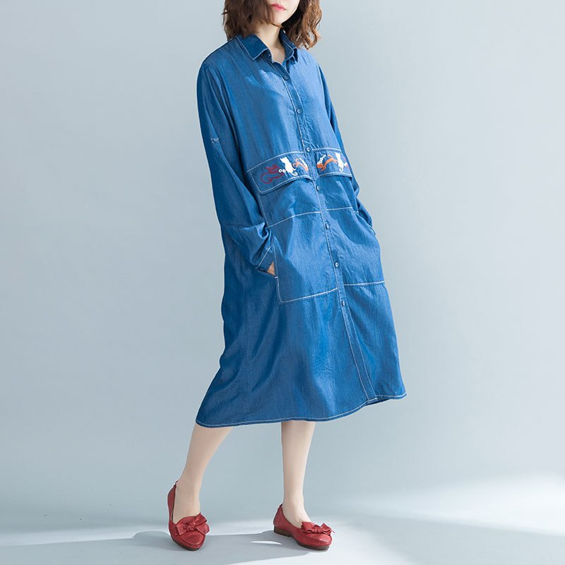 Dress in Autumn and Winter of 2018 Korean Edition Literature and Art Jeans Embroidered Shirt Overcoat Dress IF8021