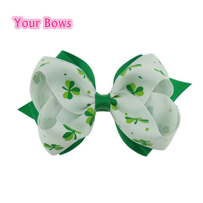 1PC 4Inches St.Patricks Day Shamrock Hair Bows Girls Hair Clips Grosgrain Ribbon Bows For Girls Hair Accessories  UpCube- upcube