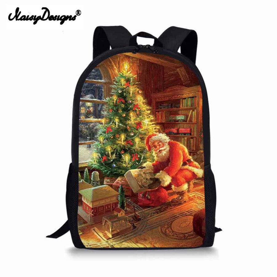 Backpack Childrens School Bags for Teenage Girls Christmas Painting Schoolbags Kids Bookbag 3D Cartoon Animal Backpack Mochila