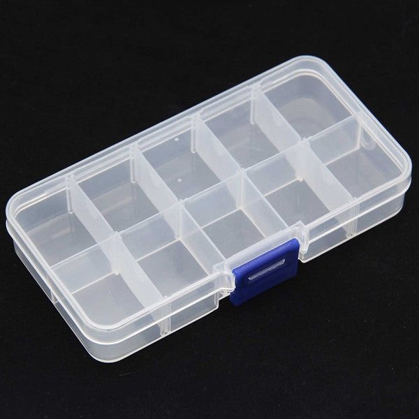 New Perfect 10 Cells Jewelry Empty Storage Case Box Pill Nail Art Tips Gems Drug Box