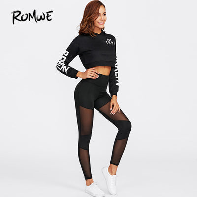 13f6a2931 ROMWE Black Insert Casual Fitness Stitching Mesh Leggings Workout Clothes  Women High Quality Fashion 2018 Leggings
