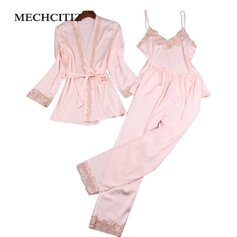 MECHCITIZ 2018 Three Piece Female Sexy Silk Pajamas Set Robe Sling Pajamas Long Sleeved Pants Women Nightgown 6 Color Sleepwear