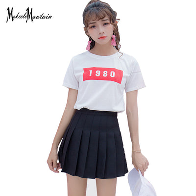 f8364fd3e7a 2018 Harajuku Lolita Schoolgirl Skirt Pleated Korean Kawaii Pink Blue Black   Streetwear Mini