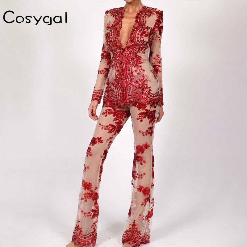 9020b91bc65f COSYGAL Sexy Women Two Piece Suits 2018 Summer Long Sleeve Deep V Neck  Black Red Rompers