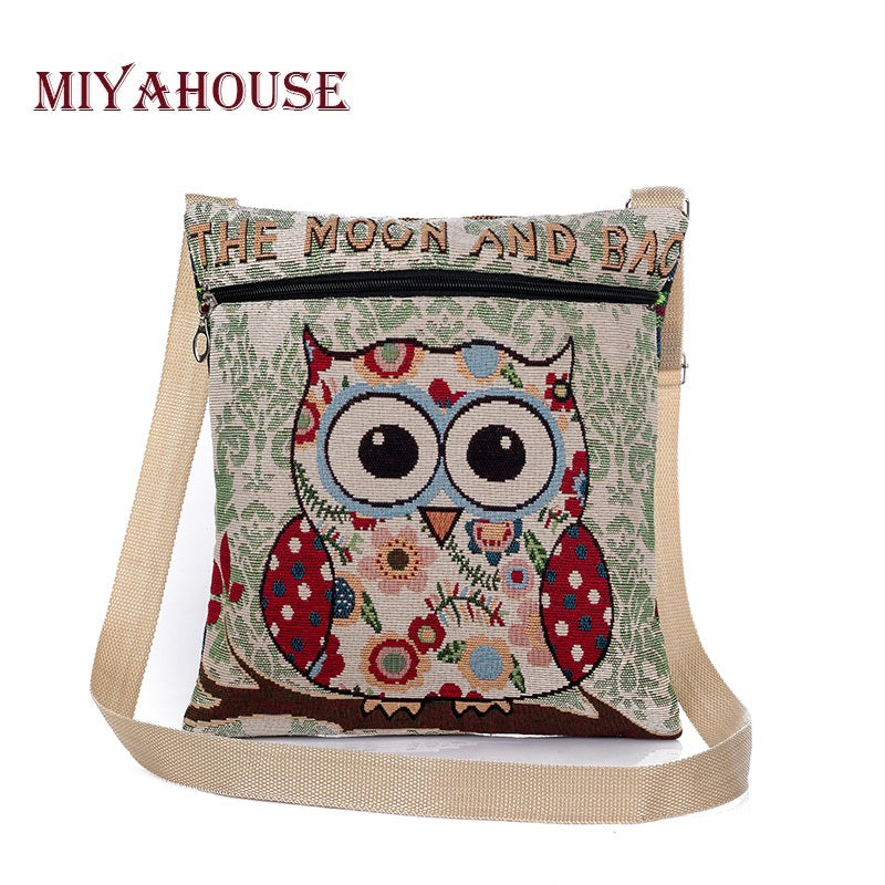 9c53212e6a Miyahouse Cartoon Owl Printed Canvas Crossbody Shoulder Bags Summer Casual  Women Messenger Bags Female Small Crossbody