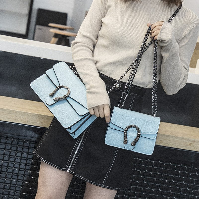 Women's Bag 2018 Version of Small Square New  Bag Fashion Snake Embossed Shoulder Bag Chain Messenger Bag