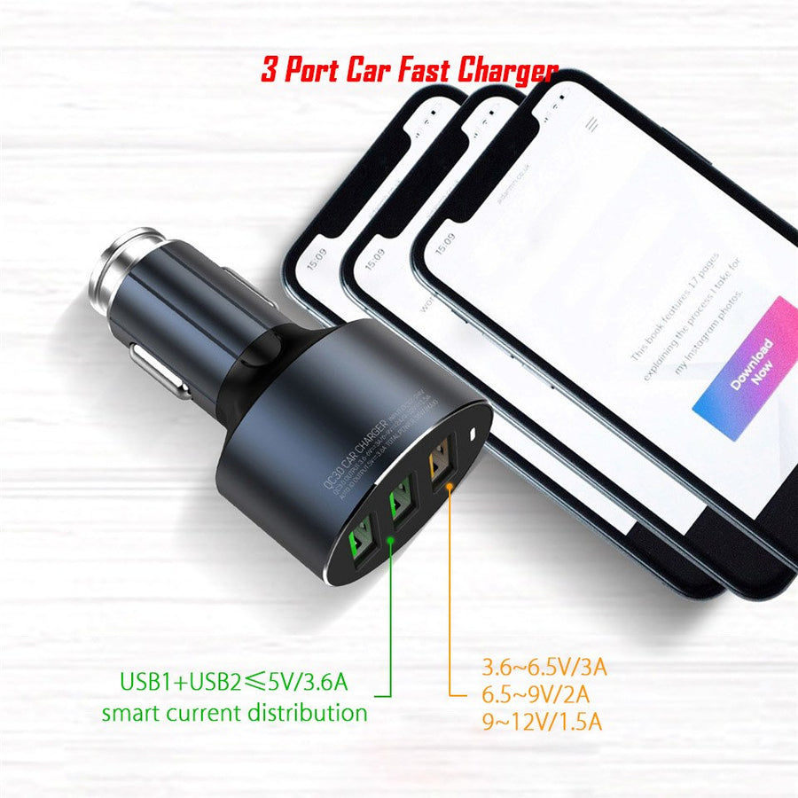 3 Port USB Car Fast Charger Quick Charge 3.0 36W Multi USB Car Charger QC 3.0 QC3.0 General Rapid Car Charging Cell Phone Tablet