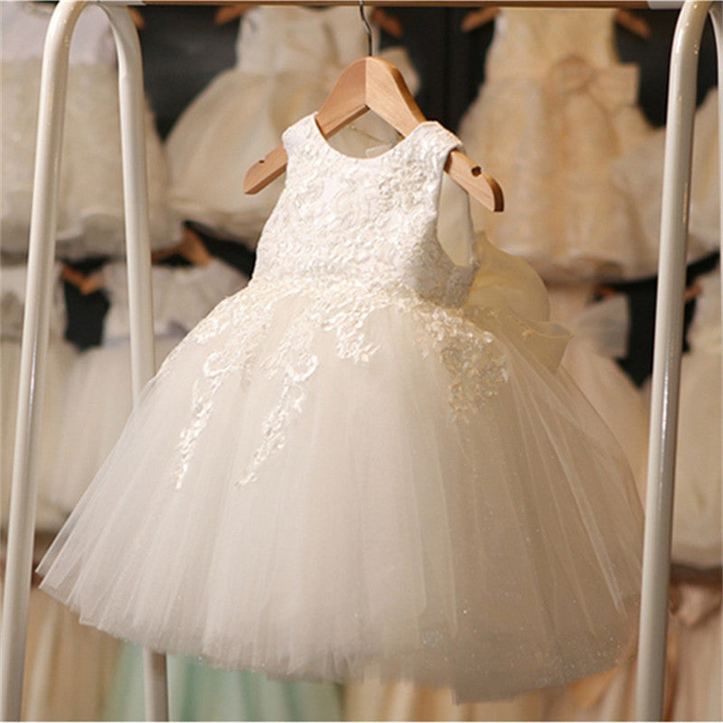 Lace Flower Fancy Party Dresses For Girl Baby Child Wedding Dress Little Girl Ceremony Dress Girl Beauty Christening Gown Size 8