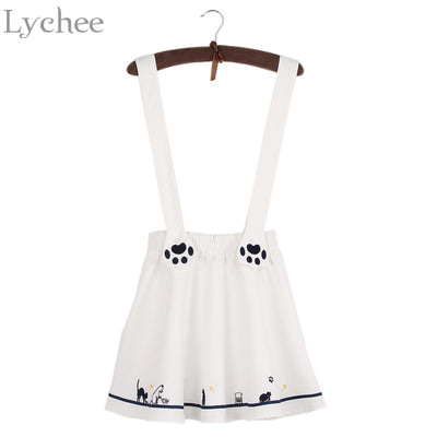 751385174 Lychee Lolita Style Summer Women Skirt Kawaii Cartoon Cat Paw Embroide
