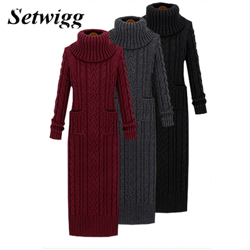 89c7c5c4efc SETWIGG Korean Style Twist Knitted Long Dress Autumn Turtleneck Back Split  Pockets Twisted Knit Casual Long