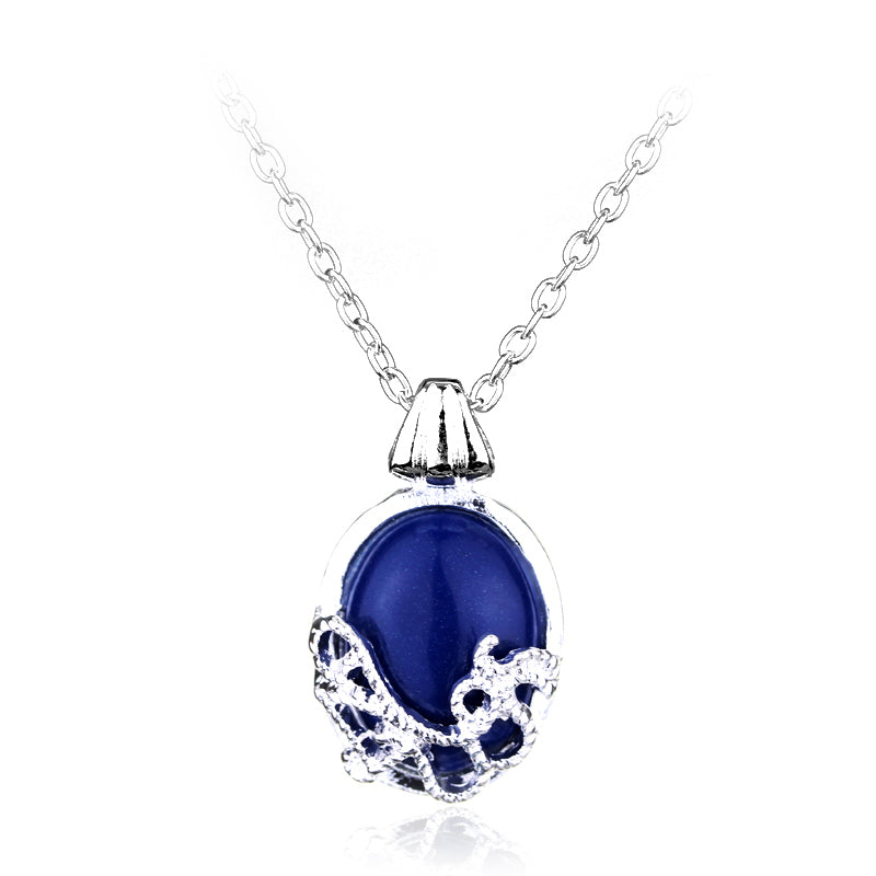 Popular Movie Charm Vampire Diaries Katherine Blue Jewel Cross Pendant Necklace Movie Jewelry Cosplay For Women Romantic Gifts