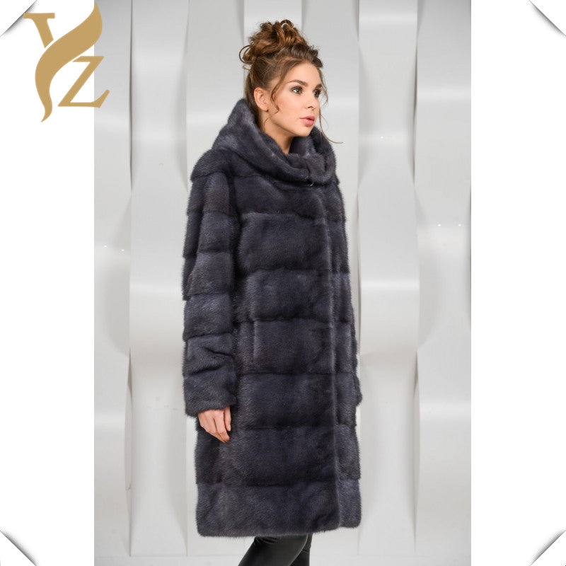 Super Luxury Natural Fur Coat Mink Coats Warm Winter For Women With Hood Dark Grey Long Style Full Sleeves Mink Fur Coats