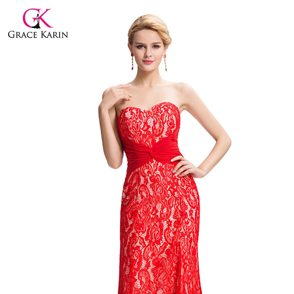 Grace Karin Backless Red Long Mermaid Evening dresses 2018 New Arrival  Elegant Lace Formal Dresses Evening 2cdd3ccd3