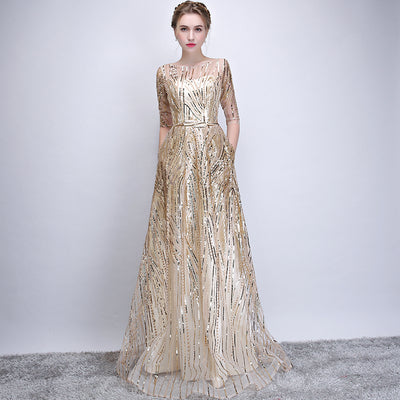 dd5ff3ebaaed6 Walk Beside You Gold Bling Evening Dresses Champagne Sequined A-line  Elegant with Belt Prom Gowns Long Sleeve Vestido De Festa