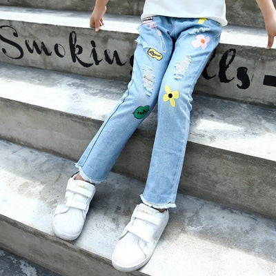 Girls Jeans For Kids 2018 Fashion Kids Trousers Spring Hole Cartoon Print  Design Jeans Children Clothes Pants Girls Outfit