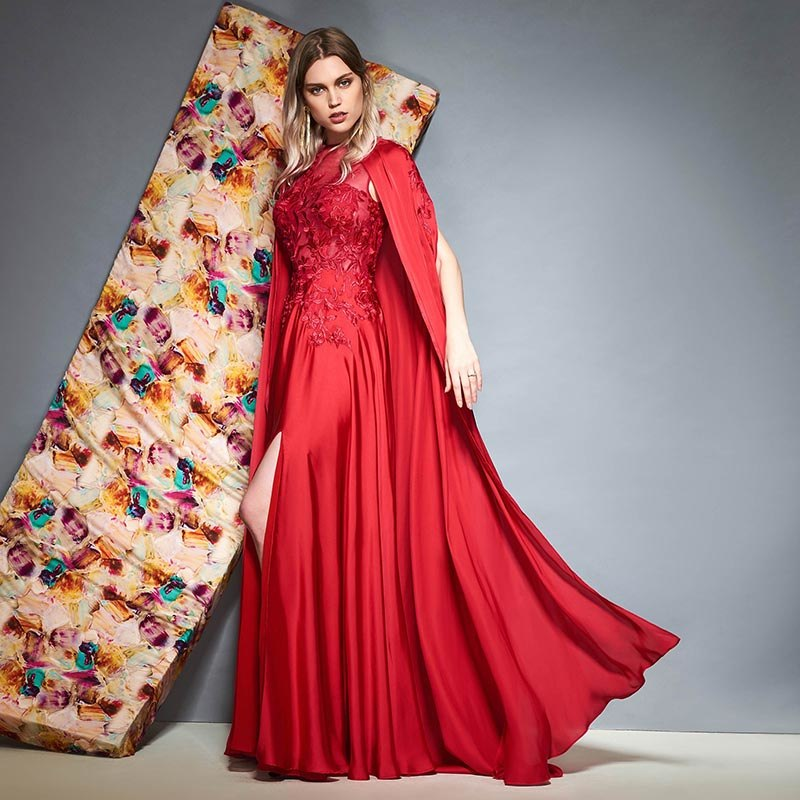 Tanpell long evening dress burgundy scoop floor length a line gown women  shawl wedding party formal 3ab04beb5e16