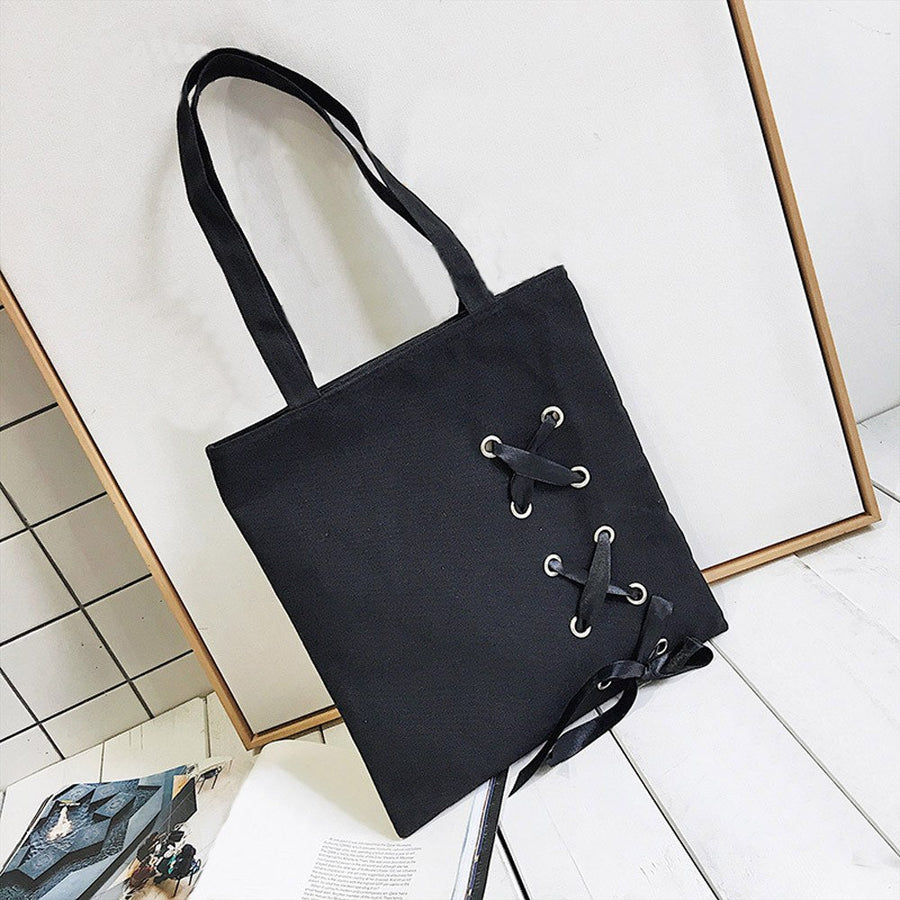 CONEED Simple Bucket Bag Women's Casual Lace-up Canvas Bag Female Single Shoulder Bags Solid Chains Zipper Messenger Bags No5