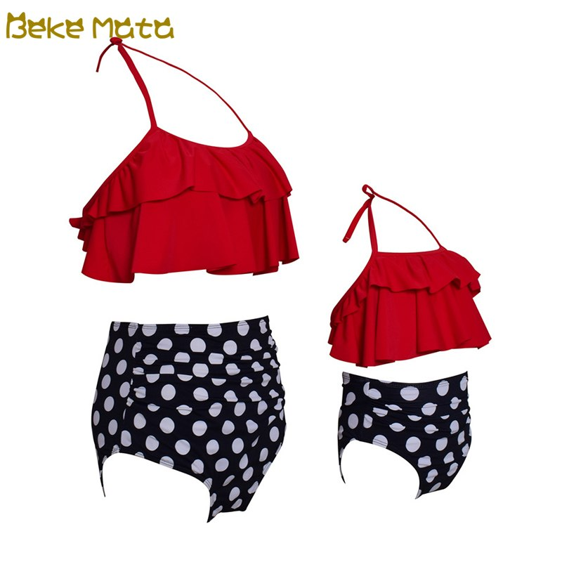 BEKE MATA Mother Daughter Swimsuit Bikini Summer 2018 Fashion Dot Matching Mommy And Me Clothes Set Family Look Swimwear Outfit