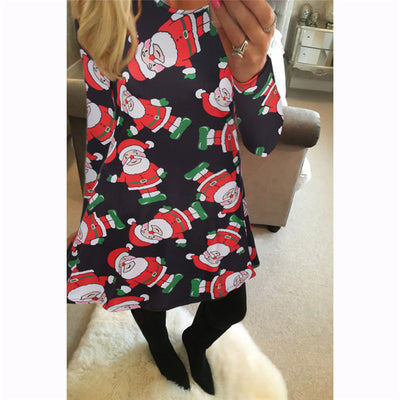 Ruiyige 2017 Autumn Women Christmas Dresses Casual Snowman Snowflake Long  Sleeves Elastic Tunic Santa Mini Robe 20ecb57b6c12