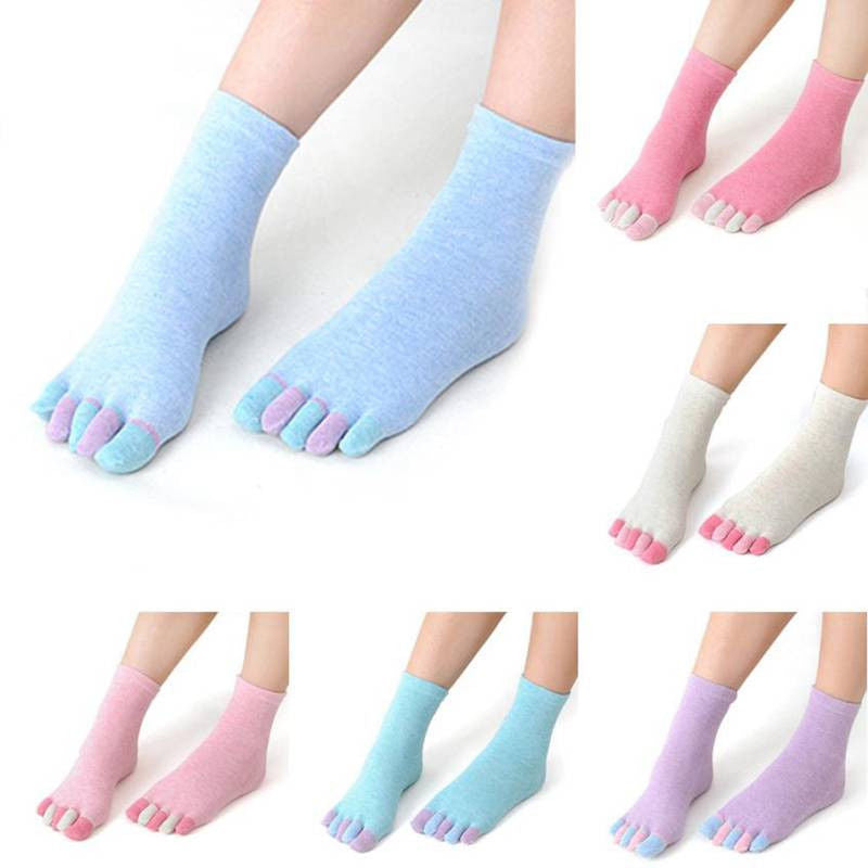 Hot 1 Pair Women five fingers socks Massage Non Slip grip female olid Heel thin Soft Comfort Toe Socks