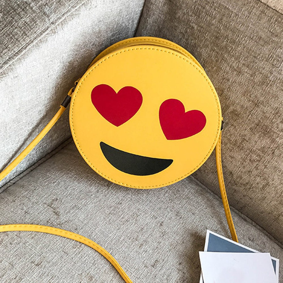 CONEED Women Child Cute Emoji Emoticon Handbag Shoulder Bag Child Bag Fashion Cartoon Zipper Bag  Chains Round Bag No5