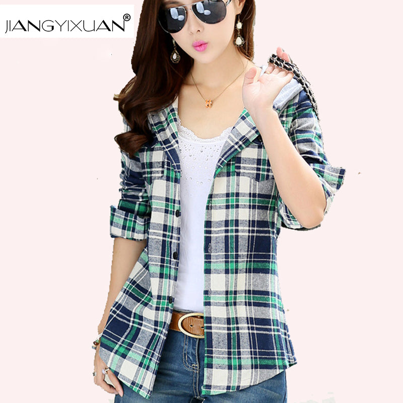 spring autumn Plus Velvet Thick Warm Plaid Shirt Sleeved Women'S Plaid Blouse free shipping Even a hat Cap female