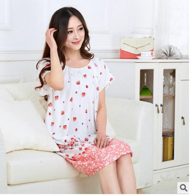 Summer Loose Large Size Nightgowns For Women Long Cartoon Girls Nightwear Nightdress Cotton And Silk Sleepshirt XXL E0005