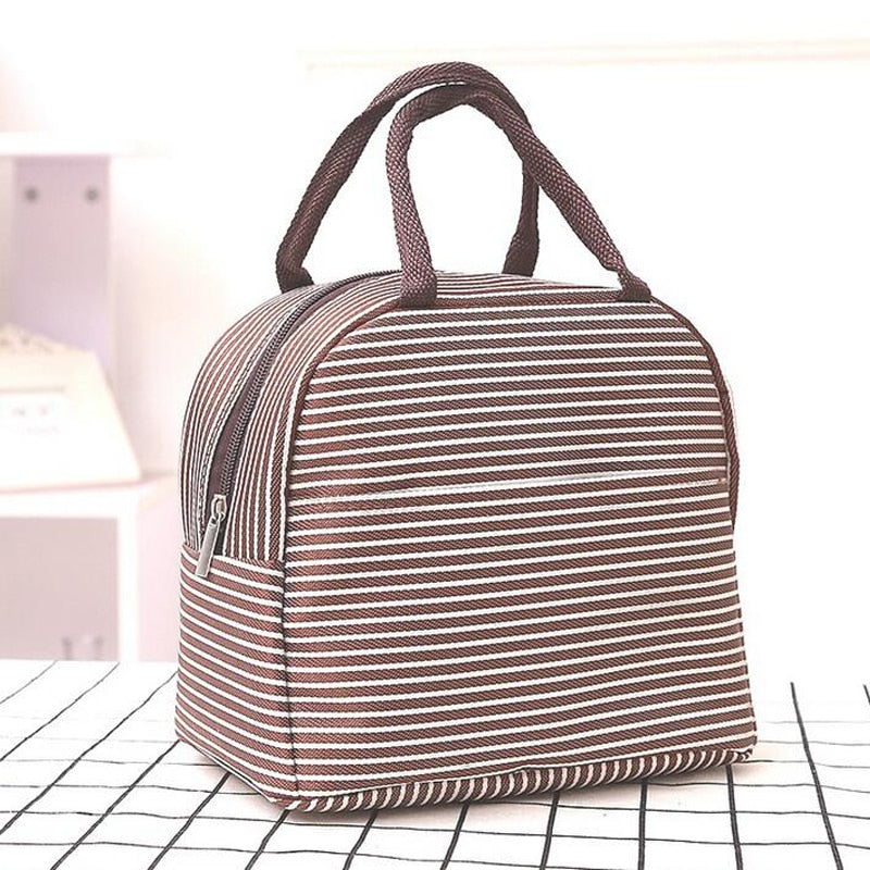 2017 New Stripe Thermal Insulation Bags Outdoor Travel Picnic Bag Camping Coolers Bag Portable Lunch Box Bag for Women
