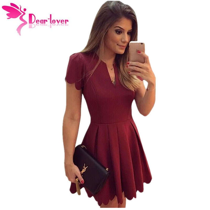 bca9189b0c Dear Lover Princess Style A-line Mini Dresses to Parties Burgundy/White  Sweet Short Sleeve Scallop Pleated Skater Dress LC22635