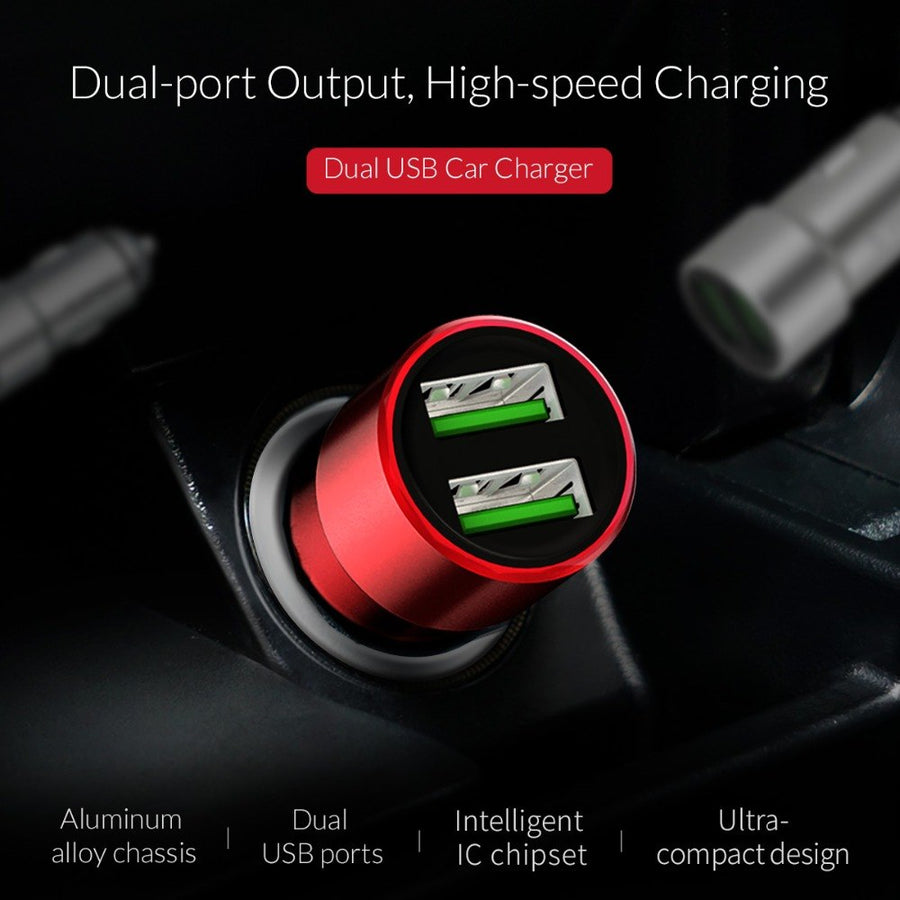 ORICO Aluminum Mini USB Car Charger 2.1A Mobile Phone Charger Dual USB Fast Car Charger for iPhone Samsung Xiaomi Tablet Charger