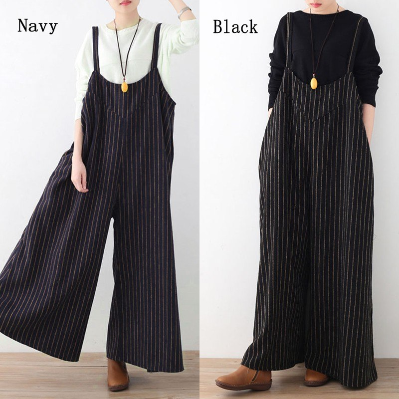 bcd7dd75a46c Celmia Women Jumpsuit 2018 Summer Vertical Striped Long Playsuit Sexy  Backless Rompers Casual Loose Oversized Overalls