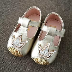 0-4 Years Old Baby Kids Girls Shoes Cute Rhinestones Pu Leather Gold Toddler Girl Shoes Comfort Pink Princess Party Strap Shoes - upcube