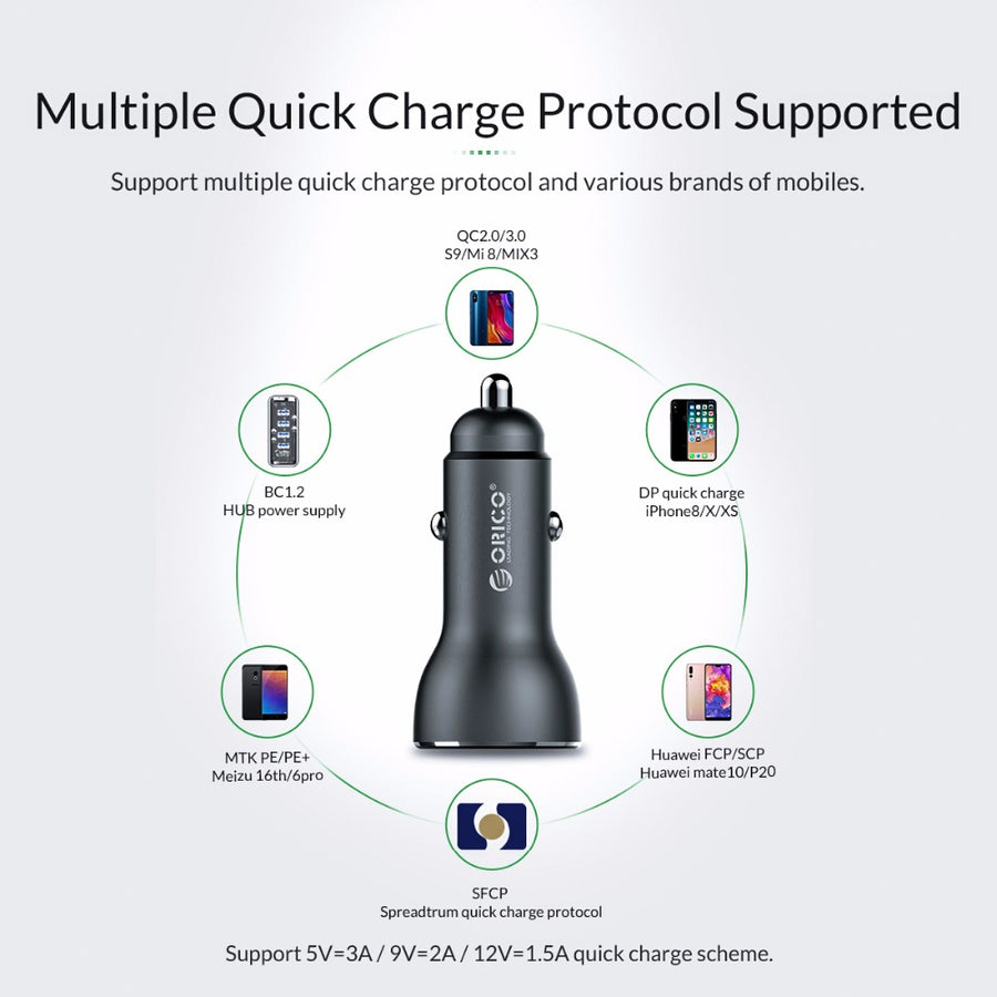 ORICO UPF-Q2 Car Charger QC3.0 Quick Charger for Mobile Phone Tablet Dual Output 30W Max Car Charger Adapter