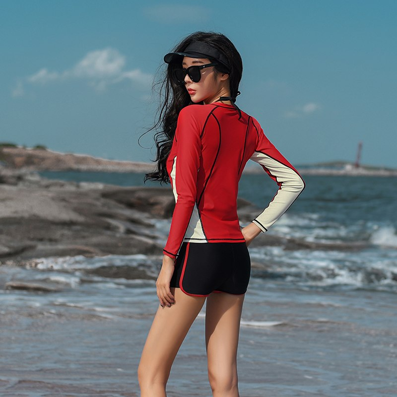 Women's Swimming Suit Three Pieces Set Protection Swimwear Long Sleeve Fashion Female Red Bathing Swim Suit Women Beach Wear