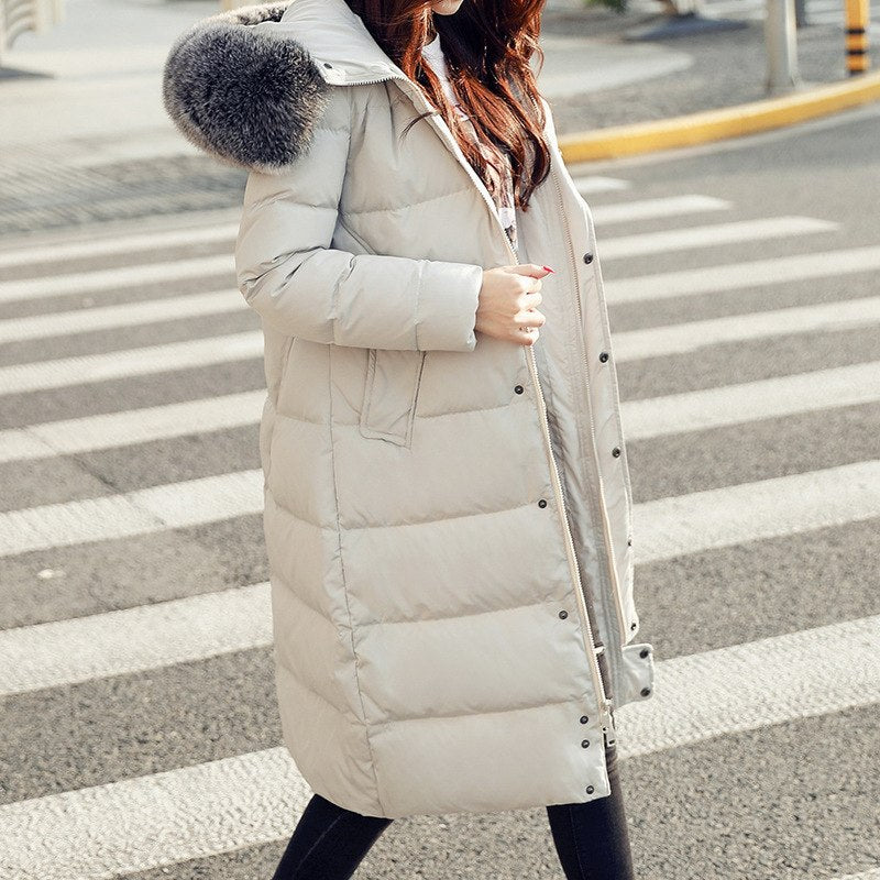 Winter Women Padded Warm Thick Fashion Hooded Popular Long Jacket Down Coat