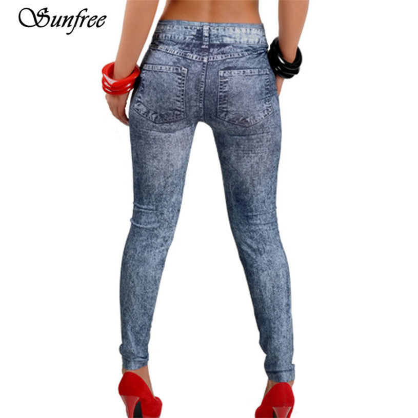 Sunfree 2016 New Hot Sale Womens Denim Snowflake Skinny Stretch Sexy Pants Soft Tights Leggings Brand New High Quality #GV5650