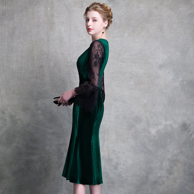 a5c83a0859 WEIYIN 2018 dark green short cocktail dress v neck long sleeves lace zipper  knee length cocktail dresses formal party dress