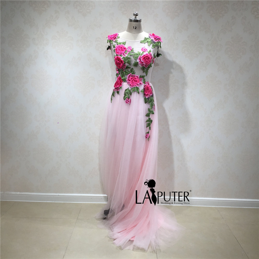 01ff9af9cd9a New Collection 2018 Spring Pink Handmade 3D Flowers Elegant Vintage Arabic Evening  Dresses Prom Women Gown