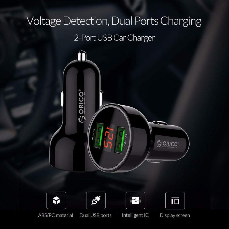 ORICO UPK-2U Car Charger with LCD Display Dual Output 15.5W Max Smart USB Charger for Mobile Phone Tablet